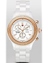 Michele Jetway White Ceramic Diamond Rose Gold Ladies Watch Mww17B000008