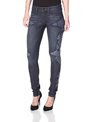 SOLD Design Lab Women's Soho Super Skinny Embroidered Jean (Medium Wash)