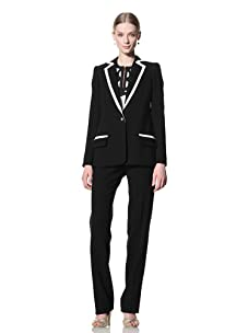 Bill Blass Women's Single Breasted Long-Line Blazer (Black/ivory)