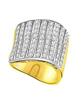 Pave Set Diamond Wide Band Ring In 18k Gold