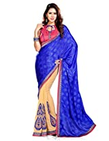 Sourbh Sarees Latest Patch Work Beige and Blue Chiffon and Jacquard Half Half Style Best Sarees for Women Party Wear,Women Clothing Collection