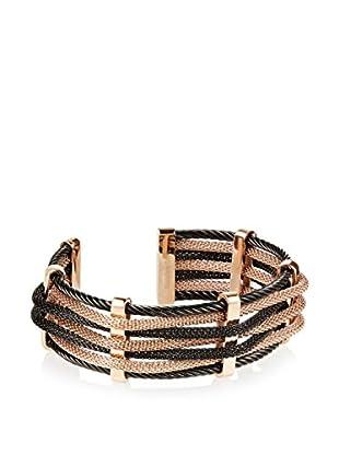 Chloe by Liv Oliver Two Tone Multi Row Mesh Cuff Bracelet