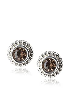 Catherine Angiel Beaded Stud Post Earrings, Silver/Smokey Topaz