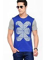 Printed Grey Melange Round Neck T-Shirt