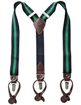 Tommy Hilfiger Men's Rugby Stripe Suspenders, Navy/Kelly Green, One Size