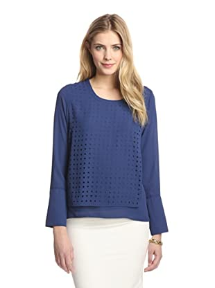 Tracy M Women's Layered Laser-Cut Top (Navy)