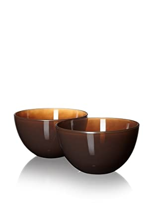 10 Strawberry Street Set of 2 Love Serving Bowls, Chocolate, 8.25