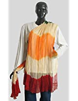 DollsofIndia Red, Saffron and Off White Wrinkle Chunni - Chiffon - Red