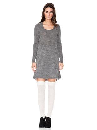 INDI Vestido Punto Cuadrado (gris vigoré)