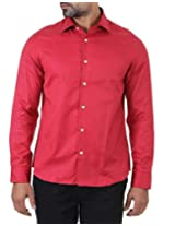 London Fog Men's Casual Shirt (8907174041223_Maroon_Small)
