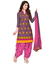 Salwar Studio Grey & Pink Cotton Dress Material with Dupatta Royal Patiyala-5011
