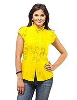Ladybug Womens Cotton Tops ,Yellow ,X-Large
