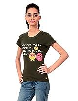 Texco Women's Round Neck T-Shirt (TC0020W-0014_Green_X-Large)