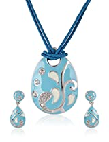 Estelle Silver Plated Necklace Set With Crystals and Turquoise Color (8520)