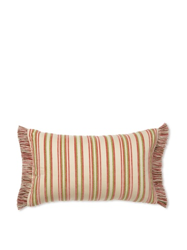 Elsa Blue English Stripe with Fringe Indoor/Outdoor Pillow, 12