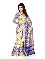 Shree Sanskruti Women's Poly Cotton Saree (Raj Jal Blue_Beige and Blue)