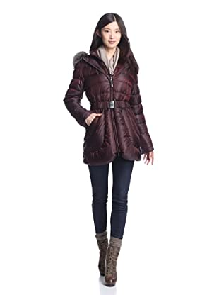 Dawn Levy Women's Harlow Down Coat with Fur Trim (Claret)