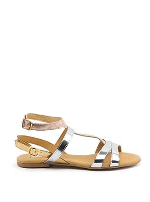 Misu Sandale Doppelte Schließe (silber/lachs/gold)