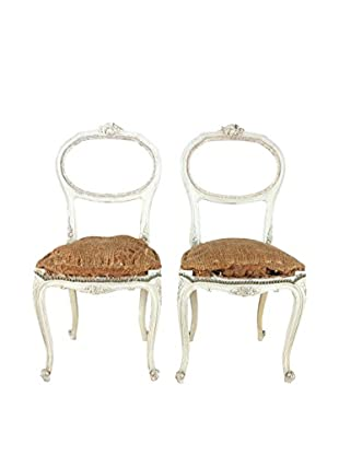 Pair of French Deconstructed Hall Chairs, White/Brown