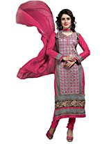 Suchi Fashion Grey & Pink Embroidered Cotton Semi Stitched Salwar Suit