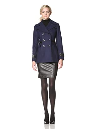 Via Spiga Women's Pea Coat with Faux Leather Trim (Sapphire)