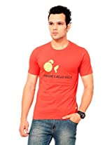 TEXCO Men's Round Neck Cotton T-Shirt (TC0022M-003_Red_Large)