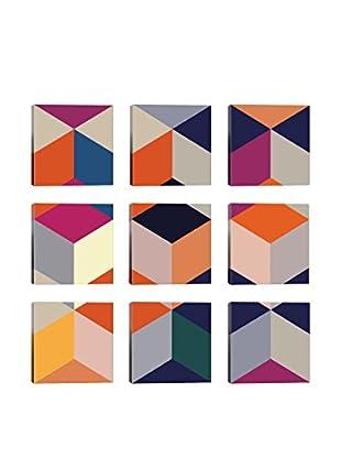 Geometric Outburst 9-Tile Giclée on Canvas