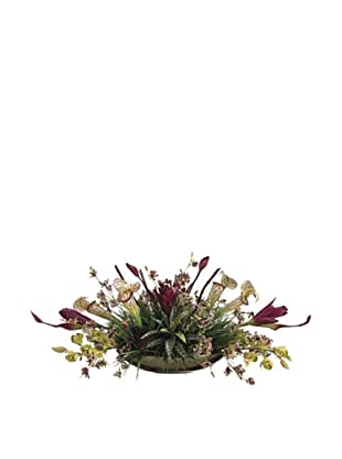 Allstate Floral Tropical Arrangement in Oval Dish, Burgundy Violet
