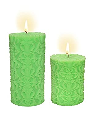 Volcanica Set of 2 Lime Green Paramount Pillar Candles