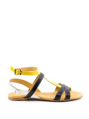 Misu Sandale Doppelte Schließe (schwarz/gelb/weiß)