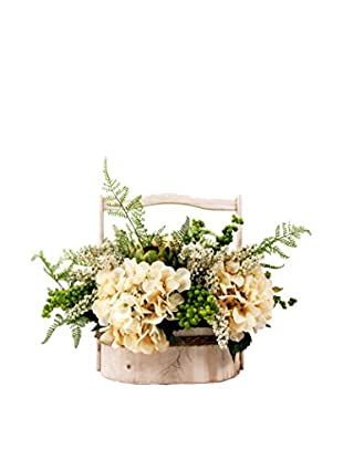 Creative Displays Mixed Hydrangeas, Heather & Berry Floral Accented with Fern in Wooden Basket, Green/Cream