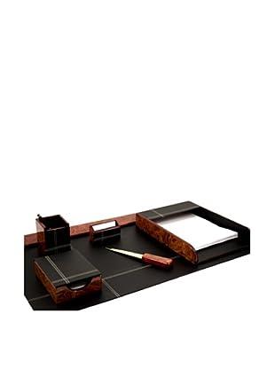 6-Piece Wood & Leather Desk Set, Black