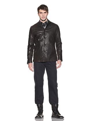 John Varvatos Men's Button-Front Leather Jacket