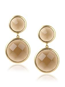 Belargo Women's Double Drop Earrings, Gold/Smoky