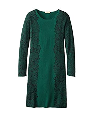 Kier & J Women's Lace Print Sweater Dress (Emerald/Black)