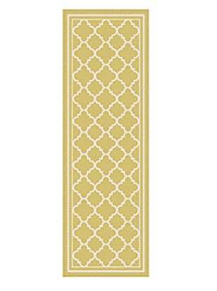 Universal Rugs Garden City Indoor/Outdoor Transitional Runner, Yellow, 3' x 8'