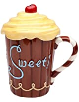 Appletree Design Life Is Sweet Mug with Yellow Lid, 5-3/4-Inch