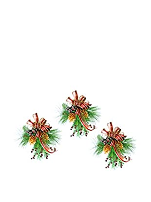 Creative Displays Set of 3 Pine & Berry With Burgundy Ribbon, Burgundy/Gold/Green