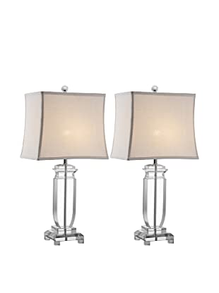 Safavieh Olympia Set of 2 Crystal Table Lamps, Silver/Clear