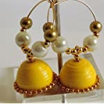 Paper Jwel_Yellow with pearl Jhumka