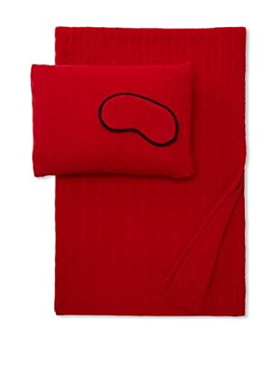 Sofia Cashmere Cable Knit Travel Set (Red)