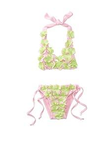SUBMARINE Swimwear Girl's 2-Piece Floral Bikini (Pink)