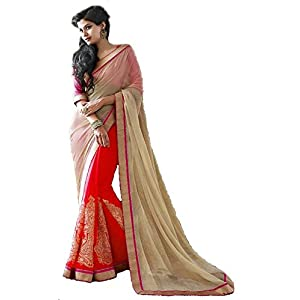 New bollywood red style latest partywear half half saree-Frinkytown