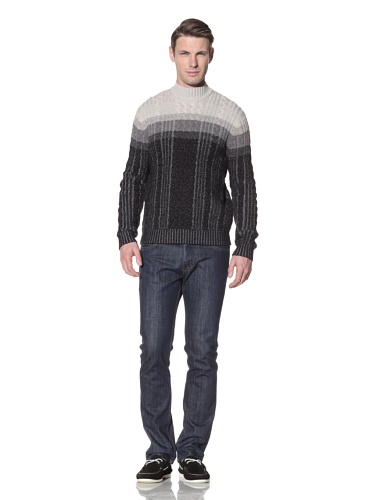 Hart Schaffner Marx Men's Plaited Cable Mock Sweater (Charcoal Heather)
