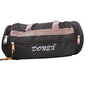 Donex Black Nylon 9 Inches Black Gym Bag