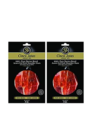 5J Set of 2 Hand-Carved Jamon Iberico Pata Negra, 3-Oz.