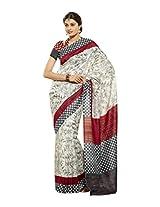 Brijraj White Red Gray Bhagalpuri Silk Beautiful Printed Saree With Unstitch Blouse