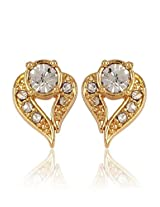 Estelle Summer Collection Gold plated Alloy Metal Heart shape Earring with CZs n A.D. for women