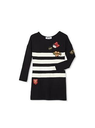 Sonia Rykiel Girl's Modal Stripe Long Sleeve Dress with Badges (Black/White)