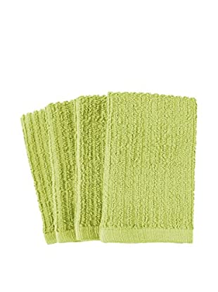 KAF Home Set of 4 Deluxe Bar Mop Dish Cloths, Green